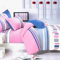 Pink Abstract, 100% Cotton 4PC Duvet Cover Set (Queen Size)